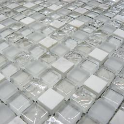 Mosaic Tiles Sheet White Glass & Stone 30 cm X 30 cm (mos005)