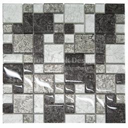 Mosaic Tiles Sheet Hong Kong Black & Silver  30 cm X 30 cm (mos016)