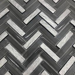 Mosaic Tiles Sheet Grey & Silver Herringbone 30cm X 30cm (mos039)