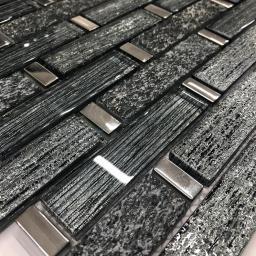 Mosaic Tiles Sheet Linea Diamond Glass And Slate 30cm X 30cm (mos040)