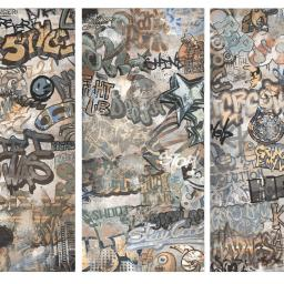 Graffiti Decor Grey Porcelain Wall & Floor Tiles