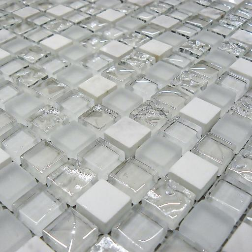 Mosaic Tiles Sheet White Glass & Stone 30 cm X 30 cm