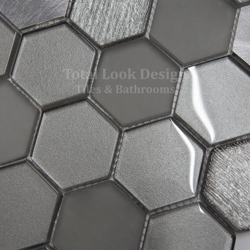 Mosaic Tiles Sheet Habitat Hexagon Silver 30cm X 30cm