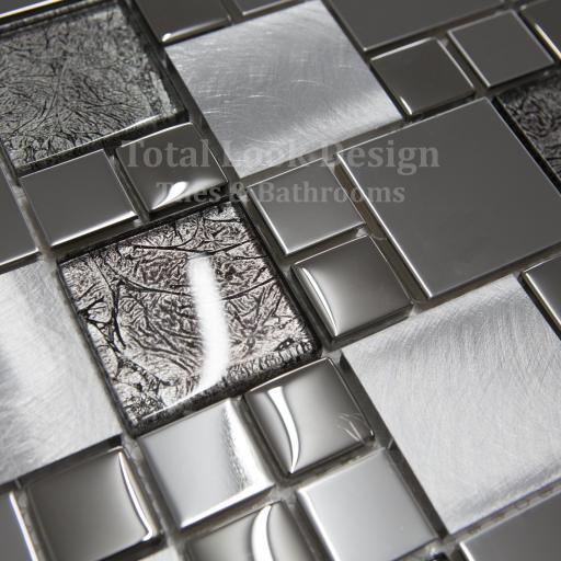 Mosaic Tiles Sheet Onyx Black Mix Squares 30cm X 30cm