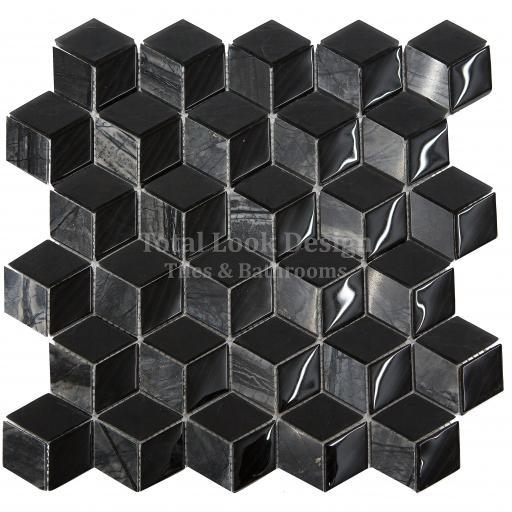 Mosaic Tiles Sheet 3D Nero 30cm X 30cm