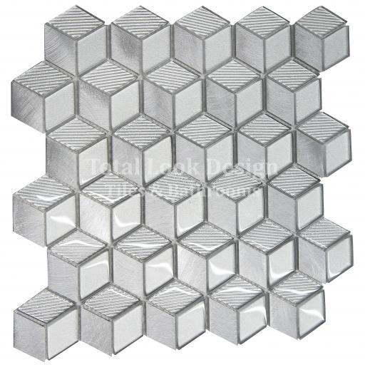 Mosaic Tiles Sheet 3D Silver 30cm X 30cm