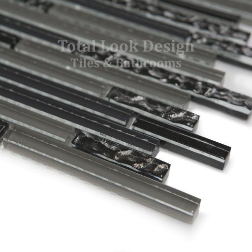 Mosaic Tiles Sheet Linea Black & Grey Glass Stripes 30cm X 30cm