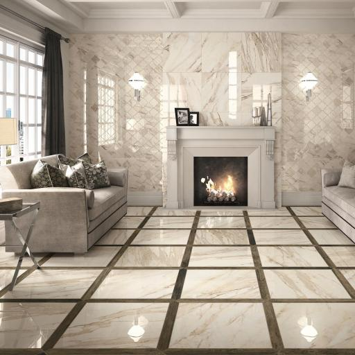 Imp Calacatta Beige Polished Porcelain Rectified Wall & Floor Tiles