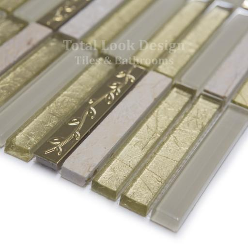 Mosaic Tiles Sheet Golden Tulip Glass & Marble 30cm X 30cm