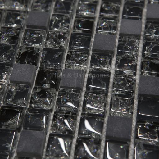 Mosaic Tiles Sheet Crackled Glass Black Stone 30cm X 30cm