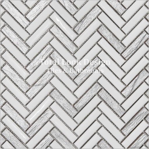 Mosaic Tiles Sheet White & Silver Herringbone 30cm X 30cm