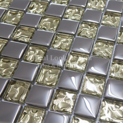 Mosaic Tiles Sheet Dior Gold & Silver 30cm X 30cm