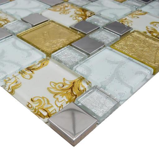 Mosaic Tiles Sheet Onyx Gold Vintage Mix Squares 30cm X 30cm