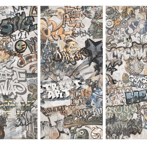 Cool Graffiti Décor White Porcelain Wall & Floor Tiles