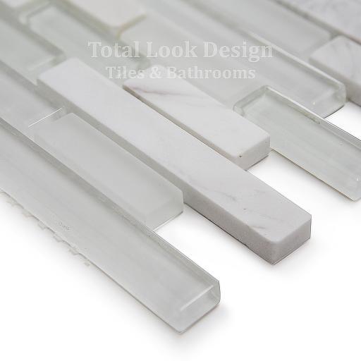 Mosaic Tiles Sheet Bianco Stripes Glass & Stone 30 cm X 30 cm