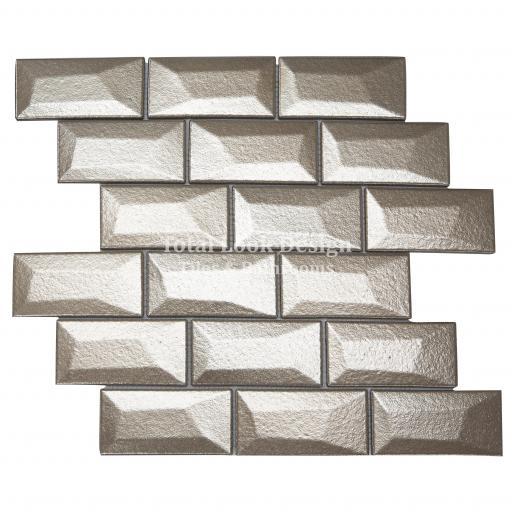 Libra Bronze Brick Mosaic Tiles Sheet 30cm X 30cm