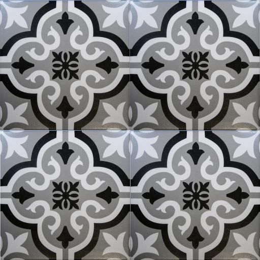 SALE!! Braga Grey & Black Decor Porcelain Wall & Floor Tiles 20x20