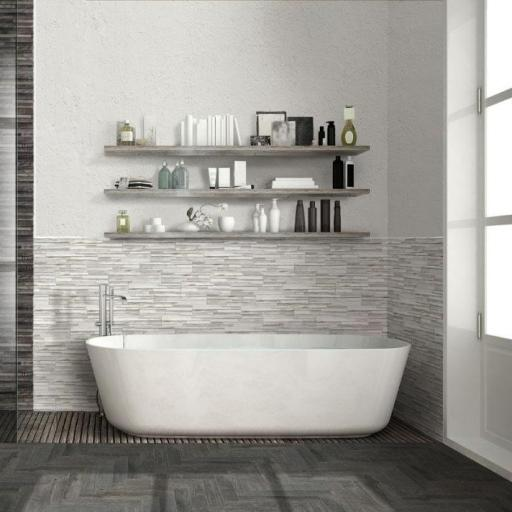 Samurai White Wood Effect Brick Italian Porcelain Wall & Floor Tiles 7.5cm x 38.5cm
