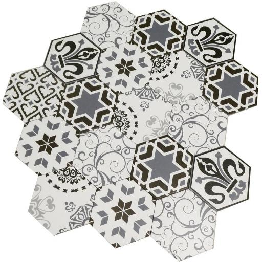 SALE!! Hexagon Mix Decor Porcelain Wall & Floor Tiles 20x23