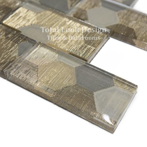 Mosaic Tiles Sheet Elegance Gold 30cm X 30cm