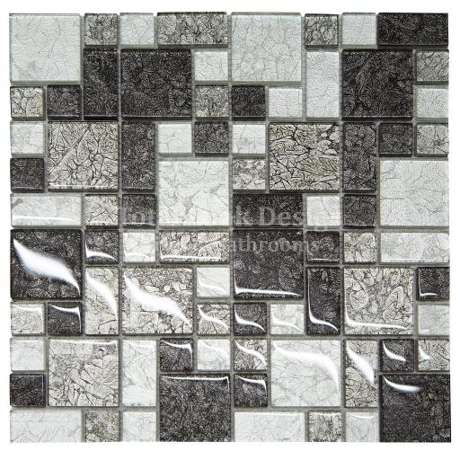 Mosaic Tiles Sheet Hong Kong Black & Silver 30 cm X 30 cm