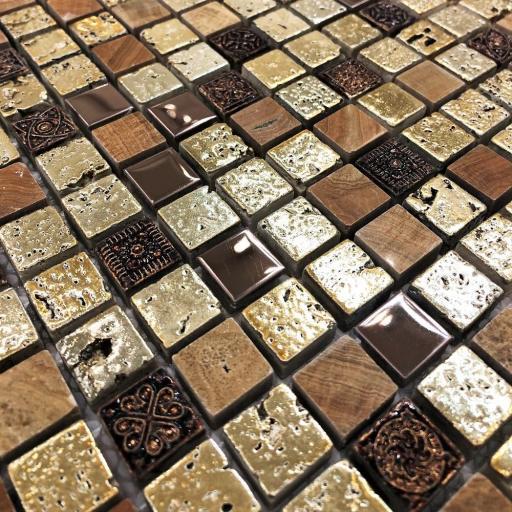 Mosaic Tiles Sheet Arctic Vintage Gold 30cm X 30cm