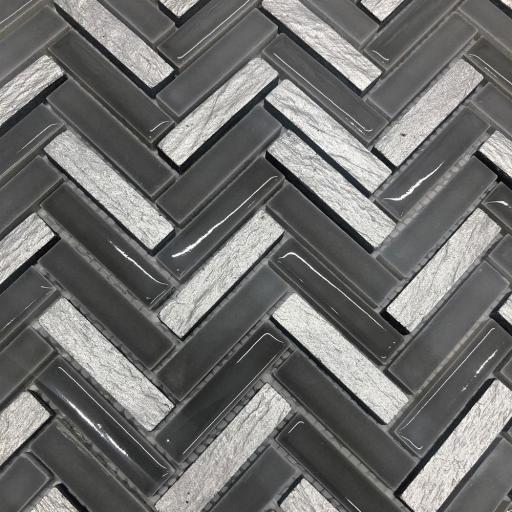 Mosaic Tiles Sheet Grey & Silver Herringbone 30cm X 30cm