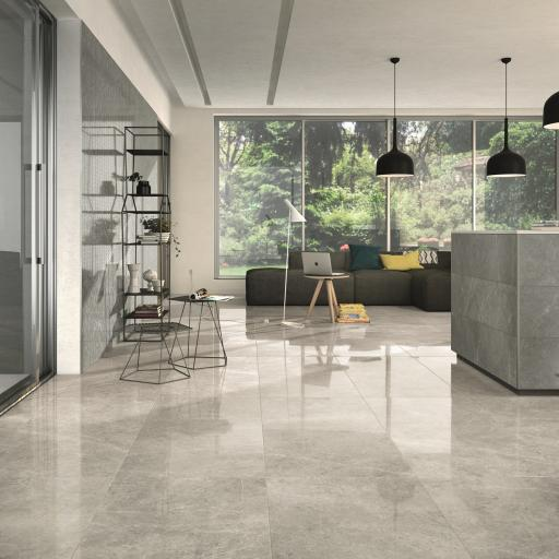 Imp London Grey Polished Porcelain Rectified Wall & Floor Tiles