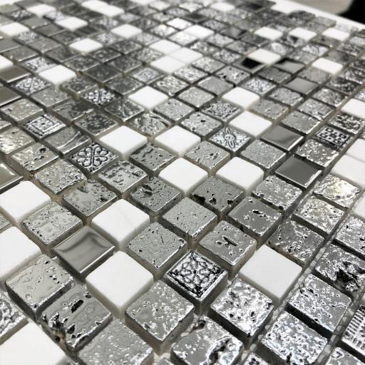 Mosaic Tiles Sheet Arctic Vintage Silver 30cm X 30cm