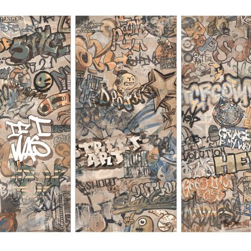 Cool Graffiti Décor Beige Porcelain Wall & Floor Tiles