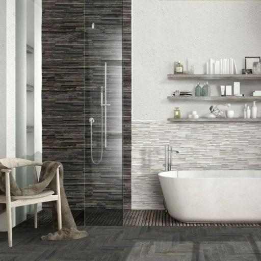 Samurai Dark Wood Effect Brick Italian Porcelain Wall & Floor Tiles 7.5cm x 38.5cm