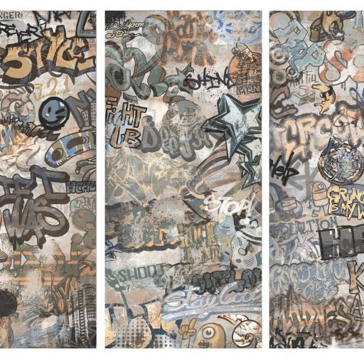 Cool Graffiti Décor Grey Porcelain Wall & Floor Tiles
