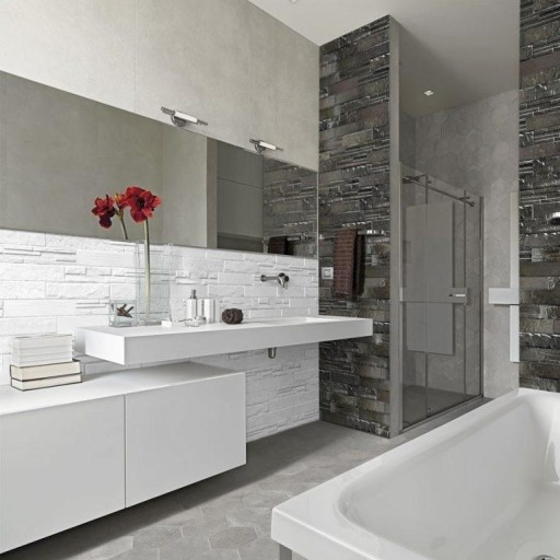Evolution White Brick Italian Porcelain Wall & Floor Tiles 7.5cm x 38.5cm
