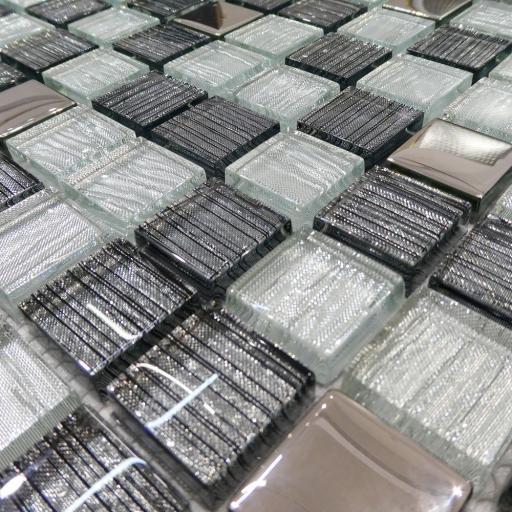 Mosaic Tiles Sheet Glitter Squares Silver Mirror 30cm X 30cm