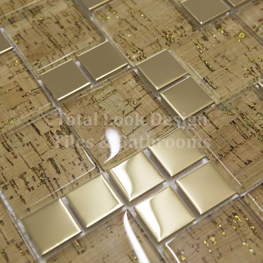 Mosaic Tiles Sheet Lithos Gold 30cm X 30cm