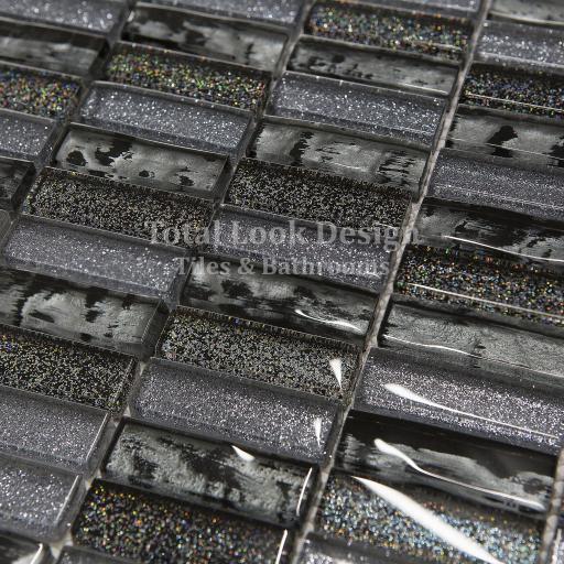 Mosaic Tiles Sheet Glitter Grey & Black Glass 30 x 30 cm