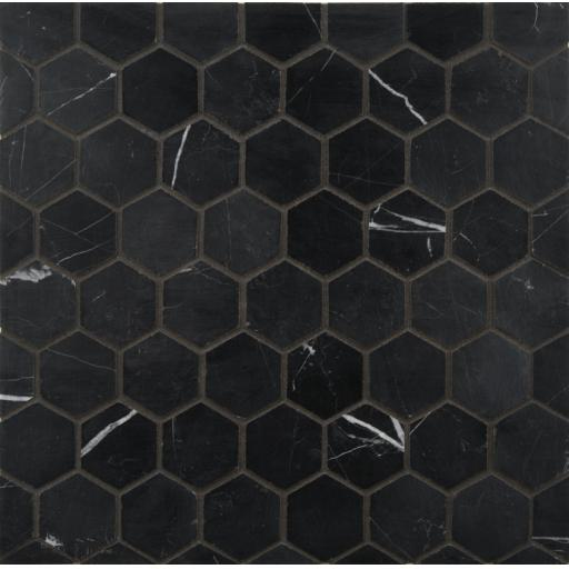 Mosaic Tiles Sheet Hexagon Black Marquina Marble 30cm X 30cm