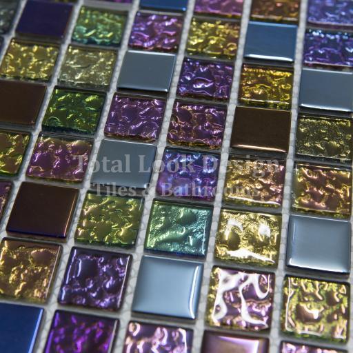 Mosaic Tiles Sheet Iridescent Mix 30cm X 30cm