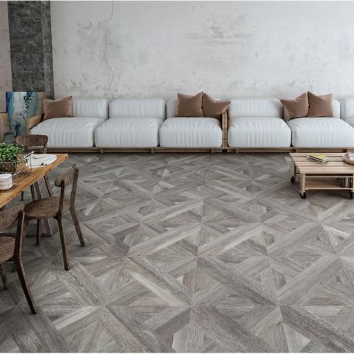 Intarsio Grigio Wood Effect Italian Porcelain Rectified Wall & Floor Tiles
