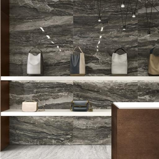 Mainstone Mink Polished Marble Effect Porcelain Rectified Wall & Floor Tiles