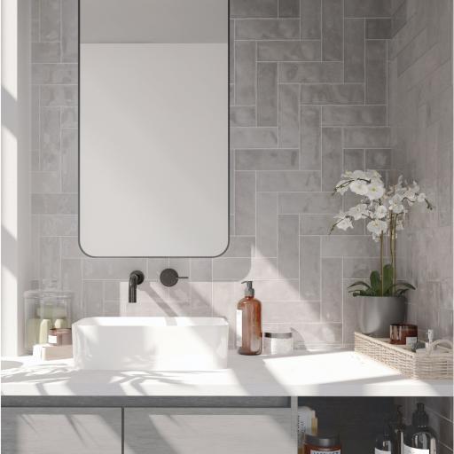 Nolita Gris Brick Gloss Wall & Floor Tiles