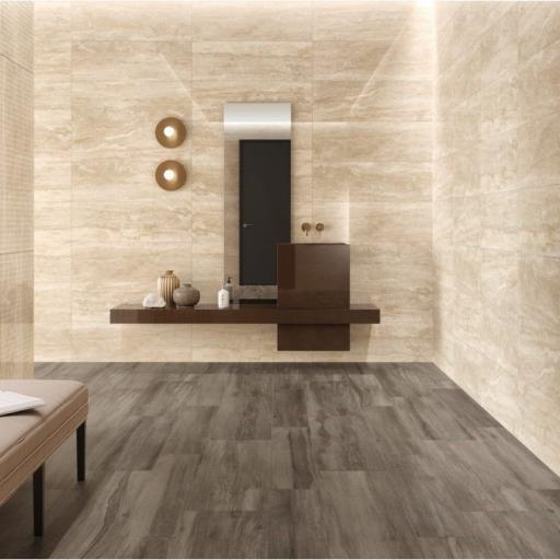 Travertino Marble Effect Porcelain Rectified Wall & Floor Tiles