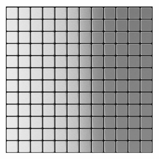 Self Adhesive Mosaic Aluminium Tile Silver Squares Kitchen Bathroom