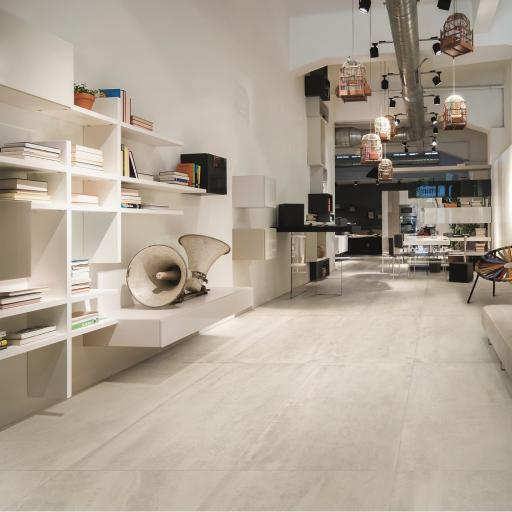 Urban White Concrete Effect Porcelain Rectified Wall & Floor Tiles