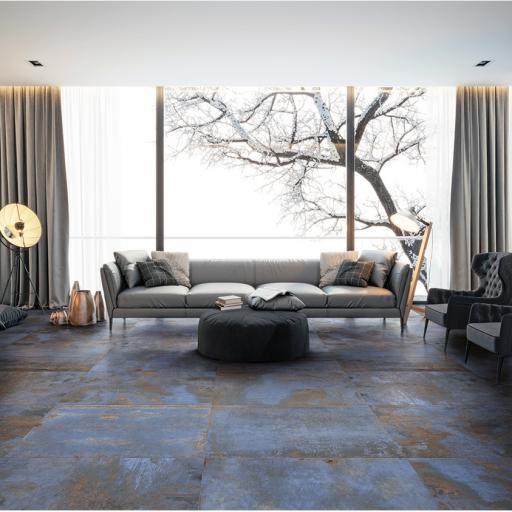 Metal Blue Metallic Italian Porcelain Wall & Floor Tiles