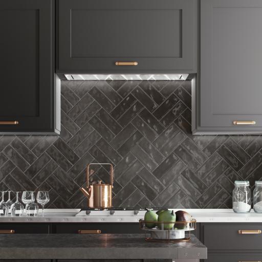 Nolita Black Brick Gloss Wall & Floor Tiles