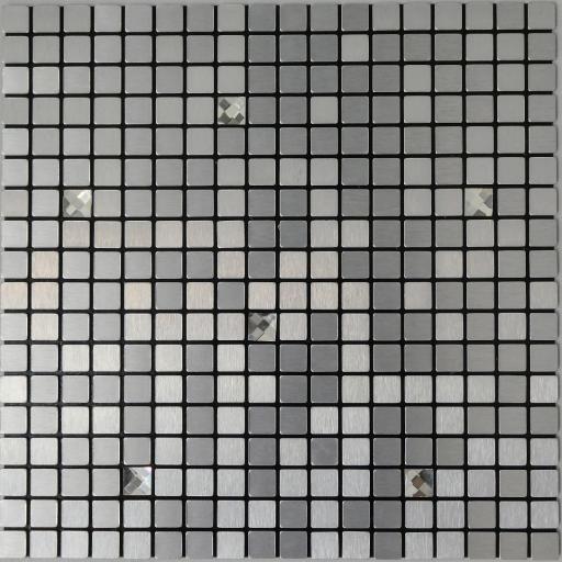 Self Adhesive Mosaic Aluminium Tile Silver Diamond Squares Kitchen Bathroom