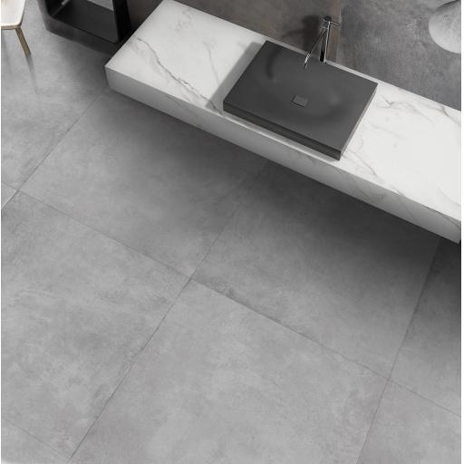 Parker Silver Concrete Effect Porcelain Rectified Wall & Floor Tiles