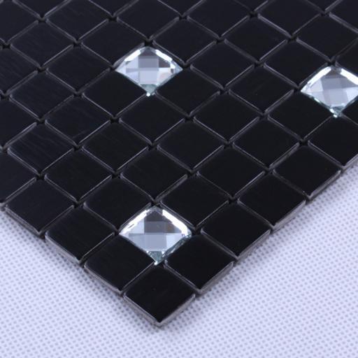 Self Adhesive Mosaic Aluminium Tile Black Diamond Squares Kitchen Bathroom