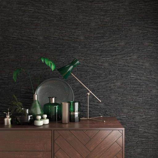 Centenar Black Split Face Matt Brick Wall & Floor Tiles